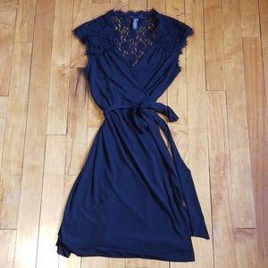 Banana Republic black wrap dress with lace